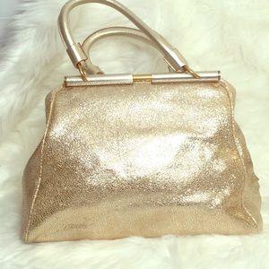 Yves Saint Laurent Gold Leather Rive Gauche Bag